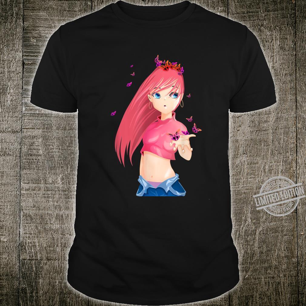 Kawaii Anime Sexy Female Pink Hair Girl Mangas Shirt
