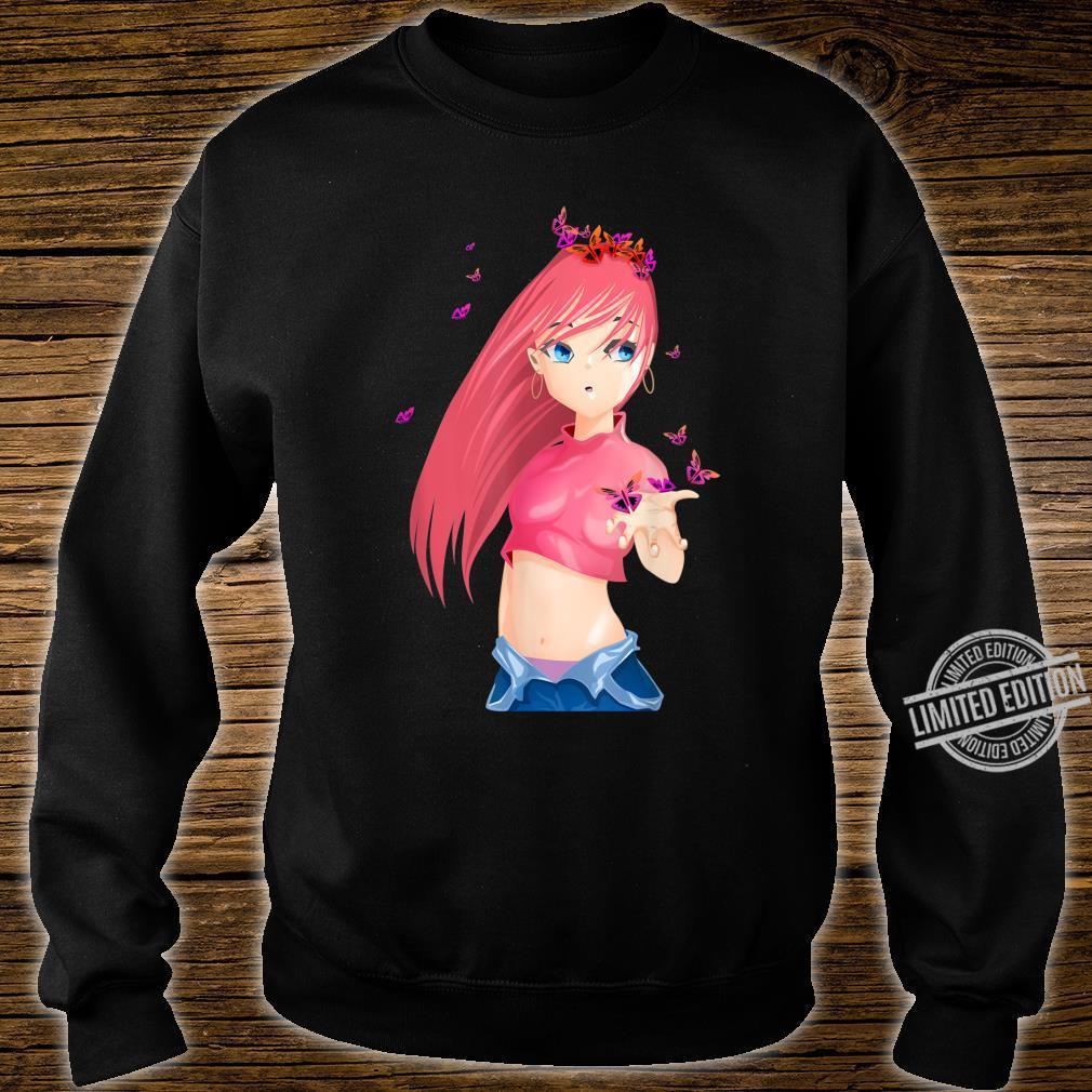 Kawaii Anime Sexy Female Pink Hair Girl Mangas Shirt sweater