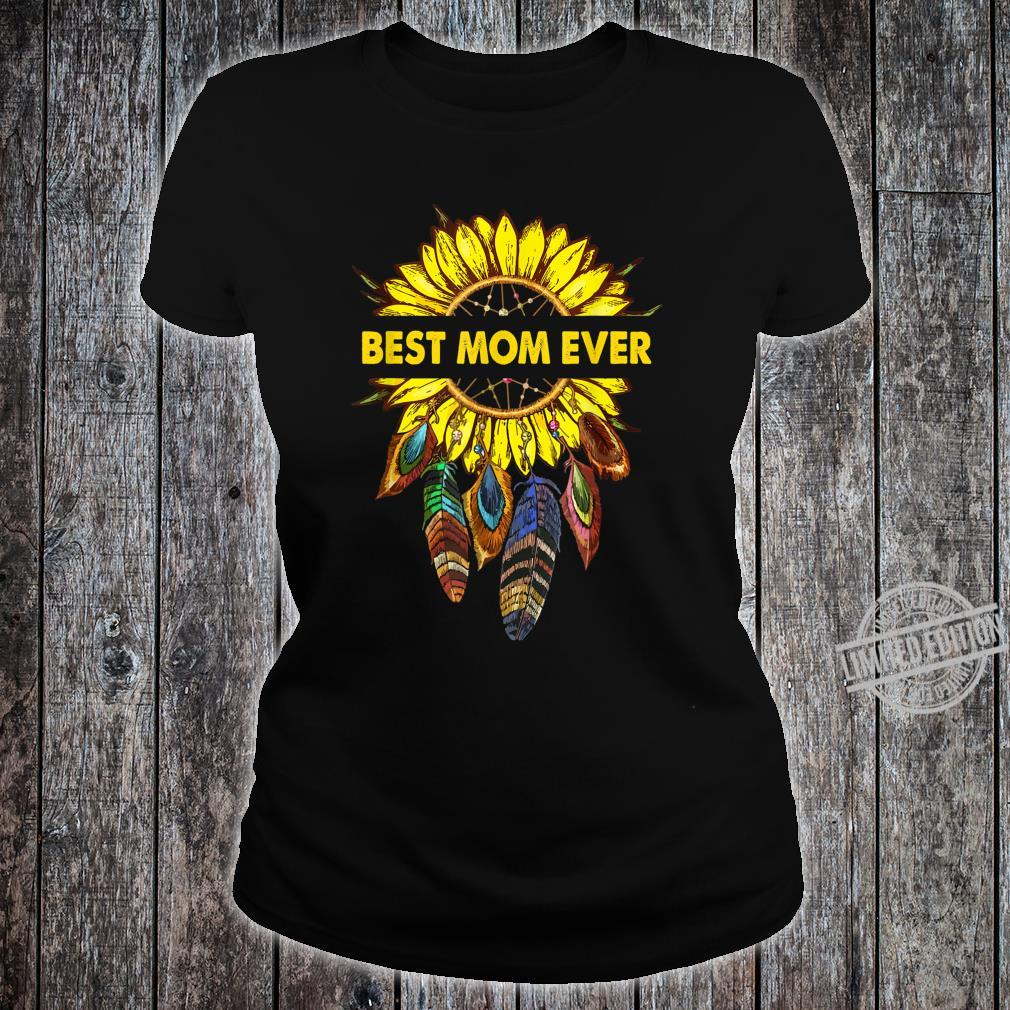 Womens Happy Mother's Day Best Mom Ever Sunflower Shirt ladies tee