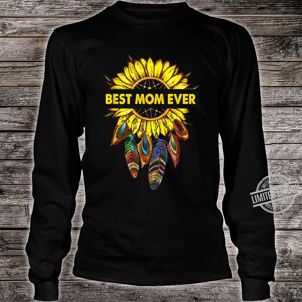 Womens Happy Mother's Day Best Mom Ever Sunflower Shirt long sleeved